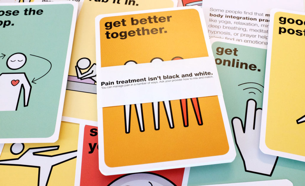 A pile of the alternative pain treatment cards