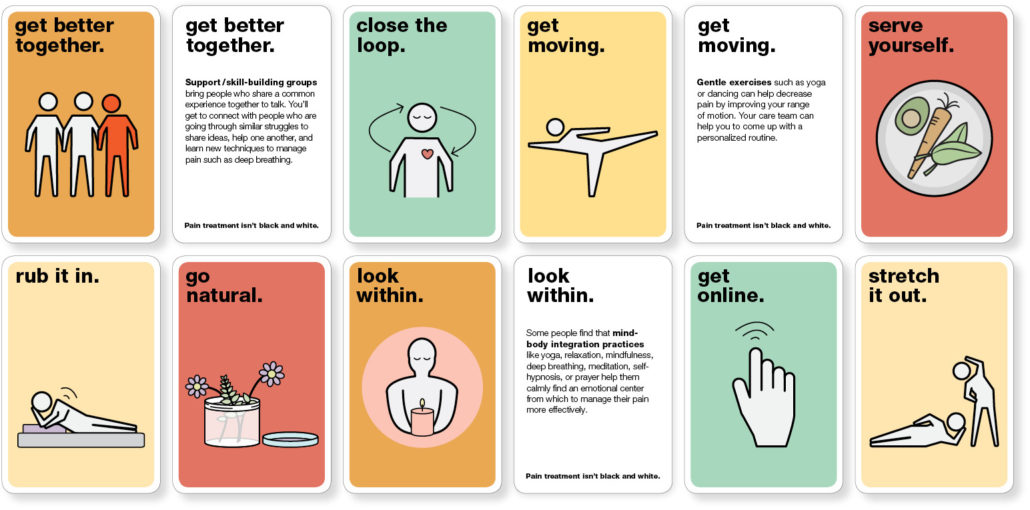 Photo of a selection of the front and back of alternative pain treatment cards