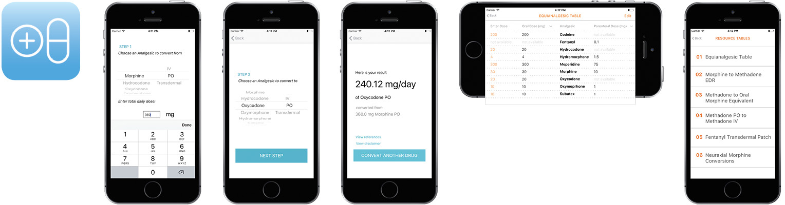 Screen shots of the Opioid Conversion app on an iPhone and an image of the Opioid Conversion app icon