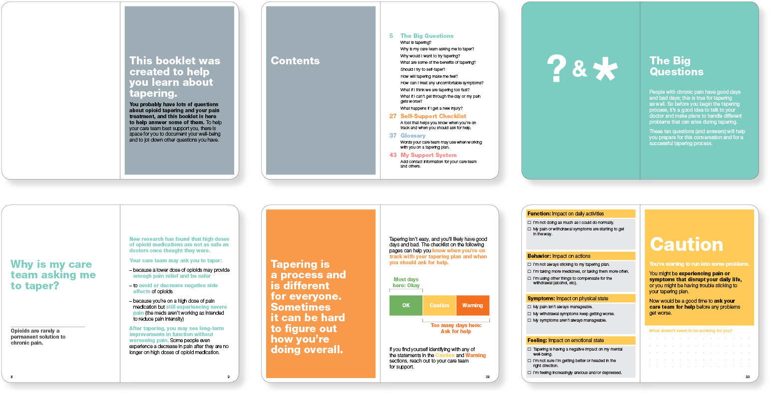 Six spreads from the opioid patient-education video companion booklet