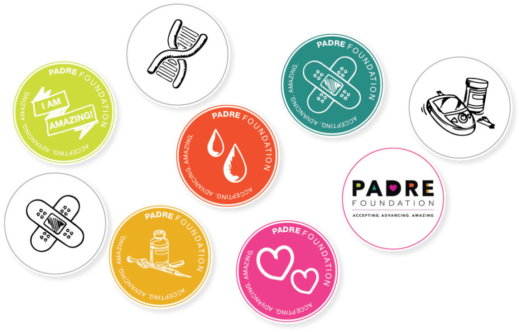 Illustration of 9 stickers for the PADRE Foundation