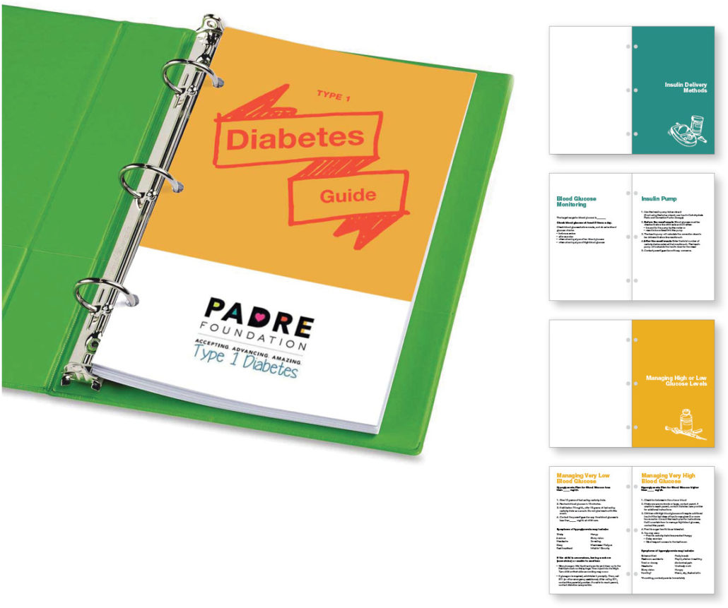 Mock up of the mini-binder and sample spreads for the type 1 diabetes guide for teachers